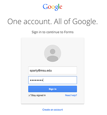 Google login form