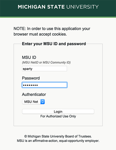MSU Login Screen